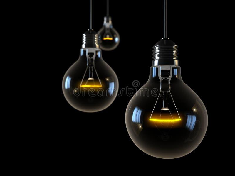 Trois lumières rougeoyantes sur le fond noir photos libres de droits
