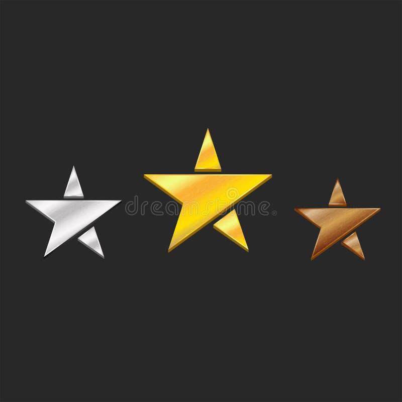Trois médailles or, argent, symboles d'étoiles en métal de bronze les trois prix sur le podium de concurrence illustration stock