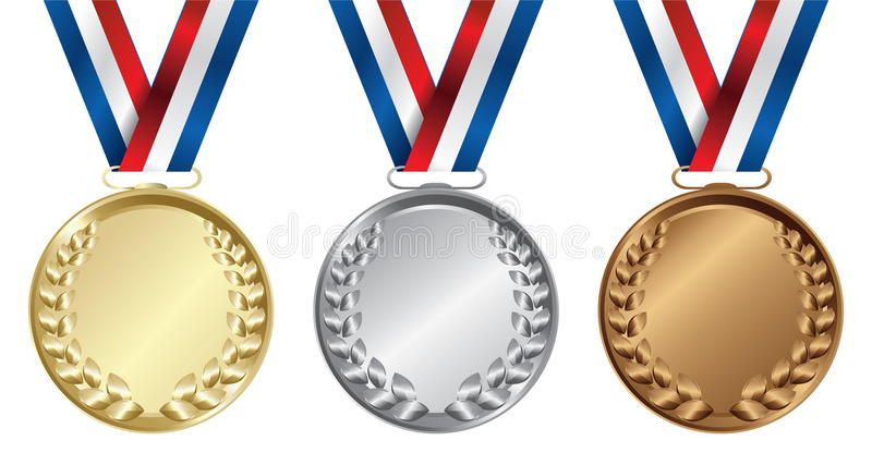 Trois médailles, or, argents et bronzes illustration de vecteur