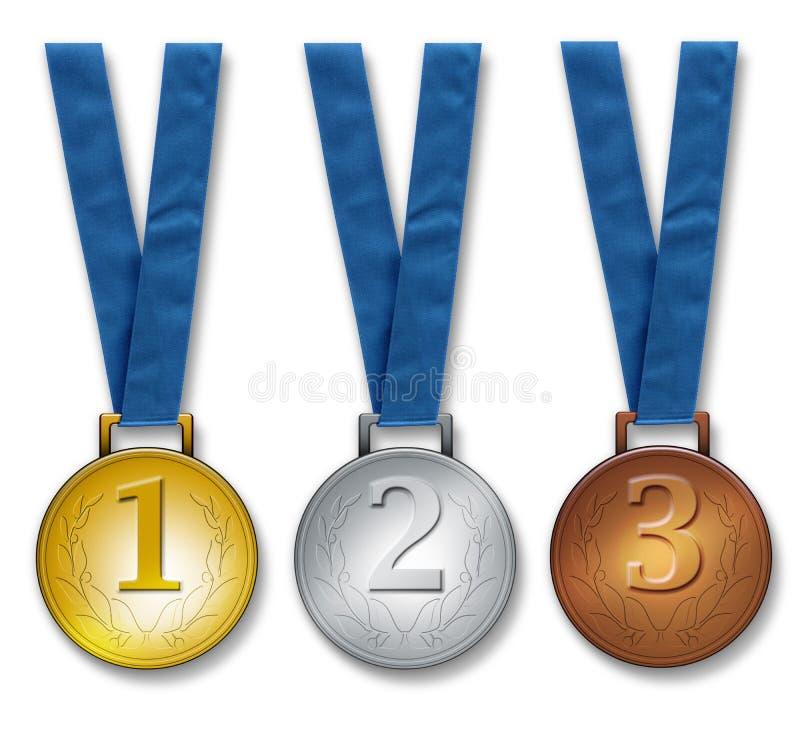 Trois médailles de gagnants images libres de droits