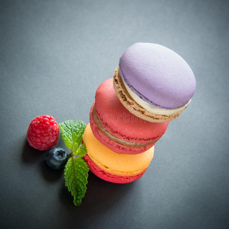 Trois macarons photographie stock