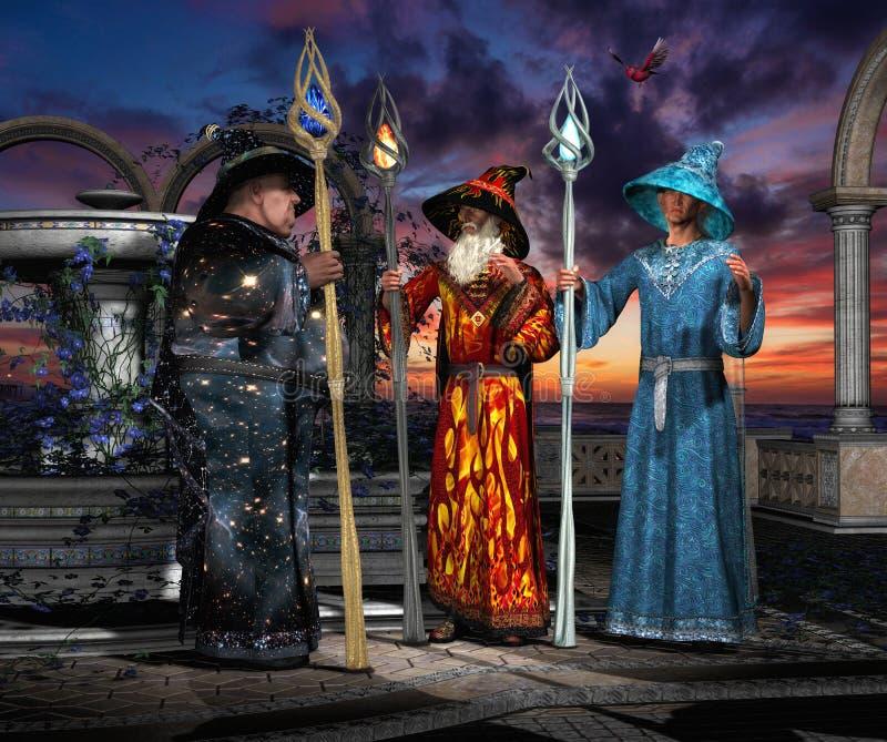 Trois magiciens pendant la consultation de 01 photo stock
