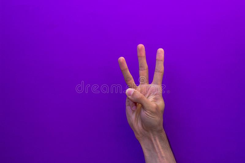Trois mains droites de compte d'isolement sur le fond pourpre photo stock