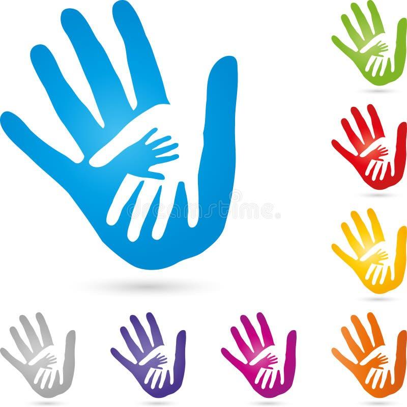 Trois mains ensemble, mains et logo de famille illustration libre de droits