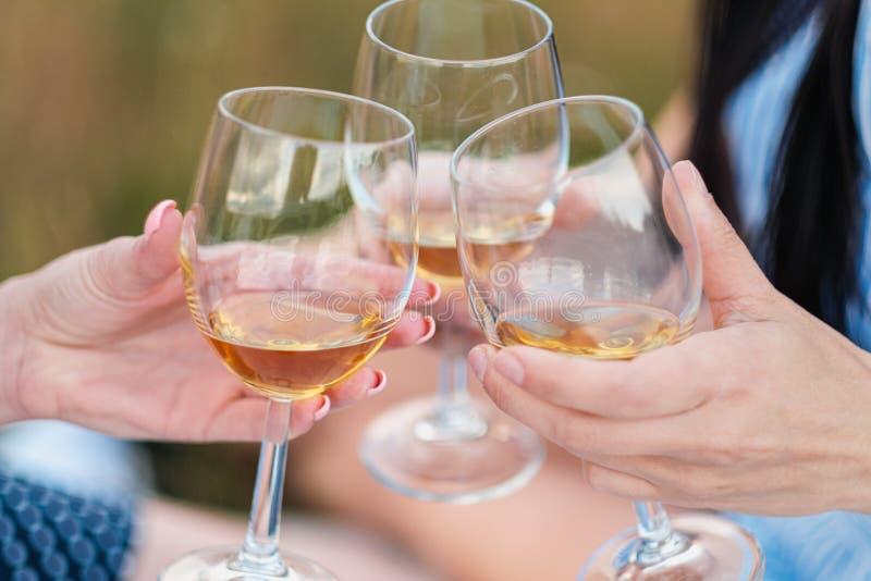 Trois mains femelles avec des verres de vin blanc Pain grillé, félicitations sur un pique-nique extérieur Le concept de la relaxa images libres de droits