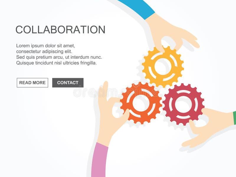 Trois mains tenant des vitesses ensemble Concept de travail d'équipe, d'association, d'affaires, de coopération et de gestion illustration de vecteur