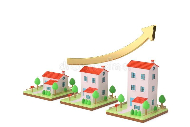 Download Trois Maisons Et La Hausse De Flèche Illustration 3D Illustration Stock - Illustration du graphique, brique: 87705297