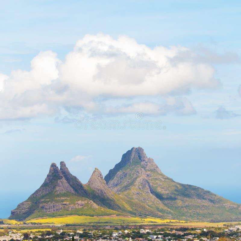 Trois Mamelles mountain on Mauritius. Trois Mamelles mountain over Curepipe on Mauritius Island stock images