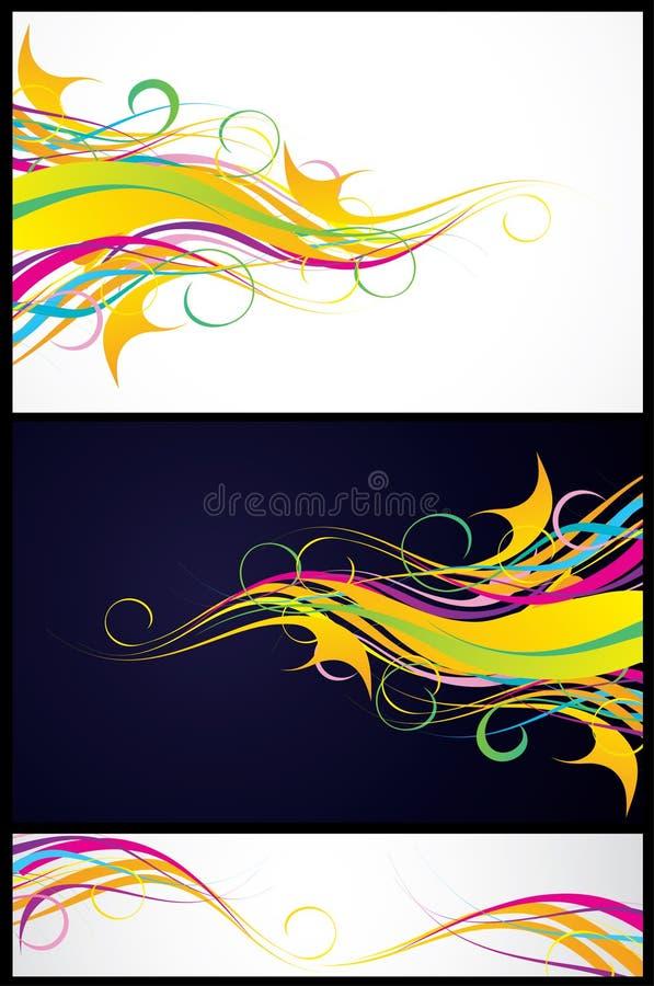 Trois milieux colorés illustration stock