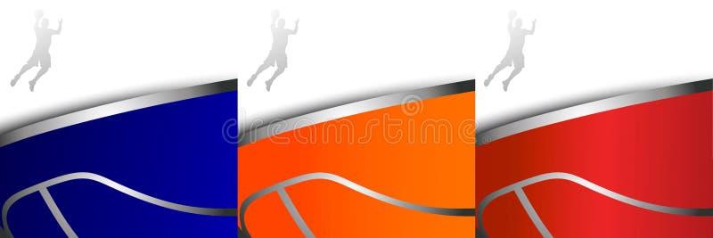 Trois milieux colorés de basket-ball illustration stock