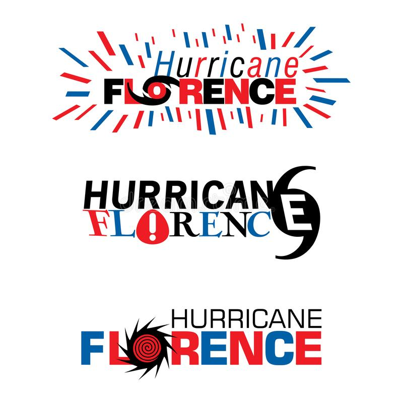 Trois mnémoniques sur l'ouragan Florence dans des conceptions rouges et de bleu illustration stock