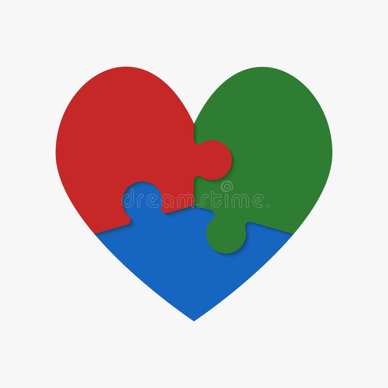 Trois morceaux colorés de puzzle de coeur romantique illustration de vecteur