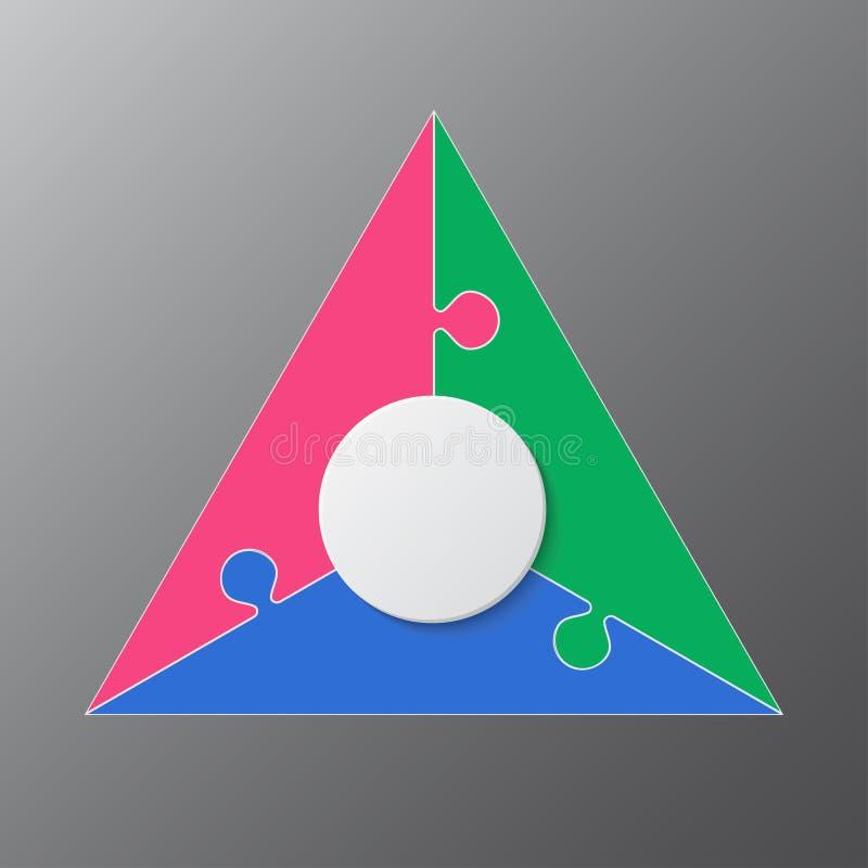 Trois morceaux déconcertent le graphique denteux de l'information de triangle illustration stock