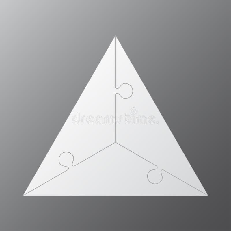 Trois morceaux déconcertent le graphique denteux de l'information de triangle illustration de vecteur