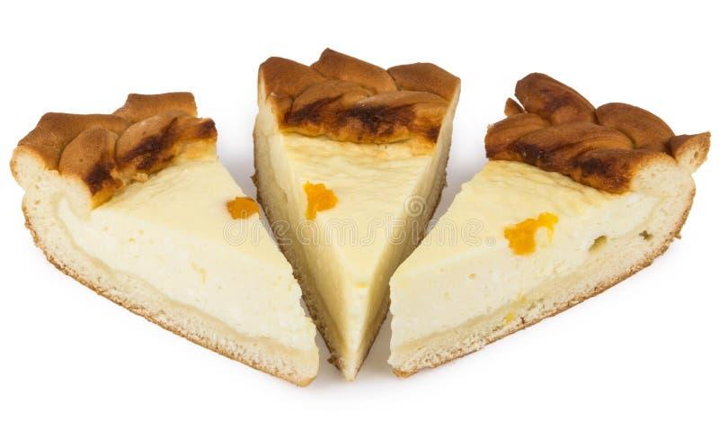 Trois morceaux de gâteau au fromage images libres de droits