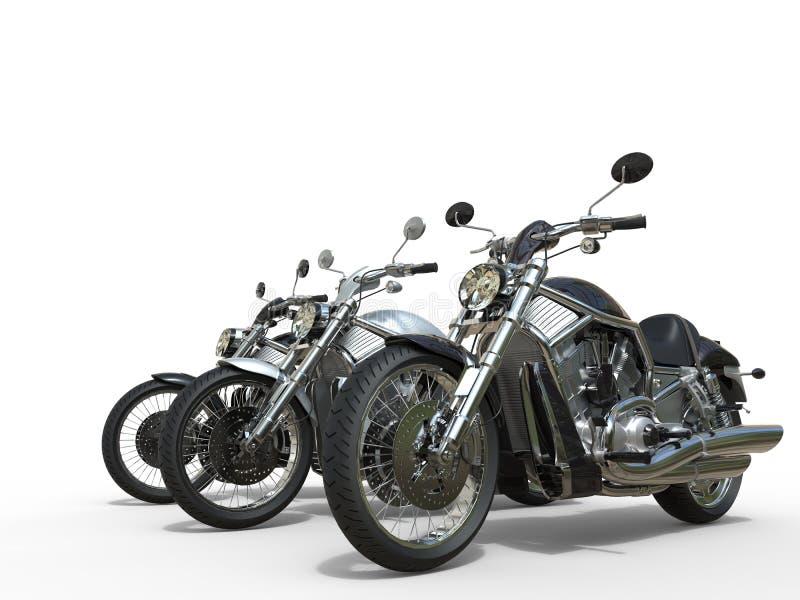 Trois motos impressionnantes image stock