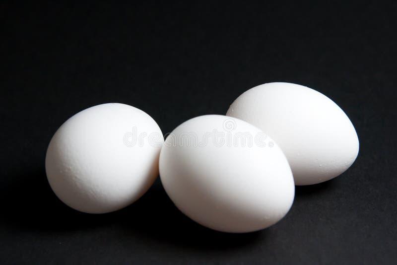 Trois oeufs blancs sur le fond noir photo libre de droits