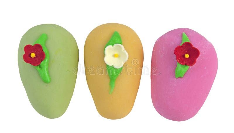 Trois oeufs colorés de biscuit de Pâques photos libres de droits