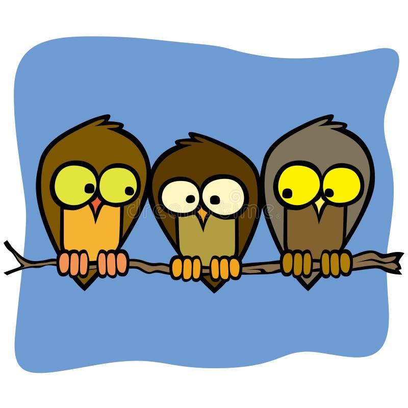 Trois oiseaux d'isolement mignons de bande dessinée dans une branche d'arbre illustration de vecteur