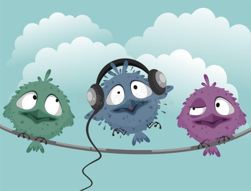 Trois oiseaux drôles illustration libre de droits