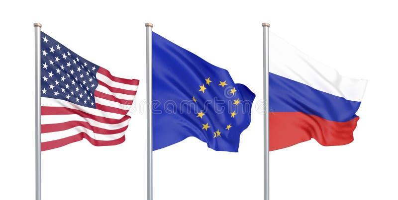 Trois ont coloré les drapeaux soyeux dans le vent : Les Etats-Unis Etats-Unis d'Amérique, E. - Union européenne et la Russie d'is illustration stock