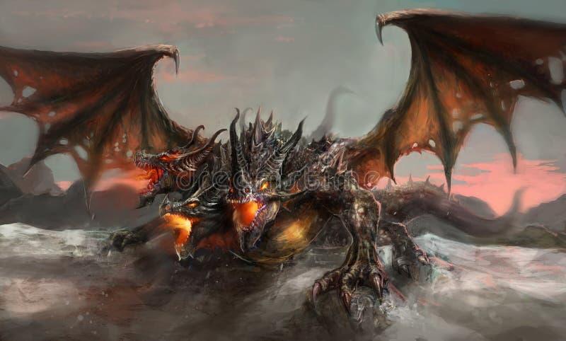 Trois ont dirigé le dragon illustration de vecteur