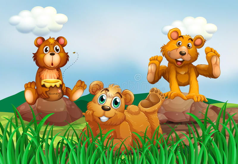 Trois ours dans le domaine illustration de vecteur