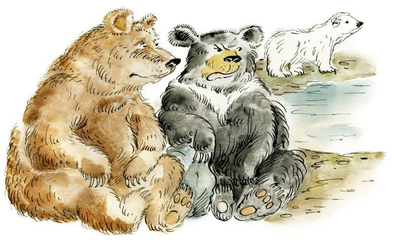 Trois ours de dessin animé illustration stock