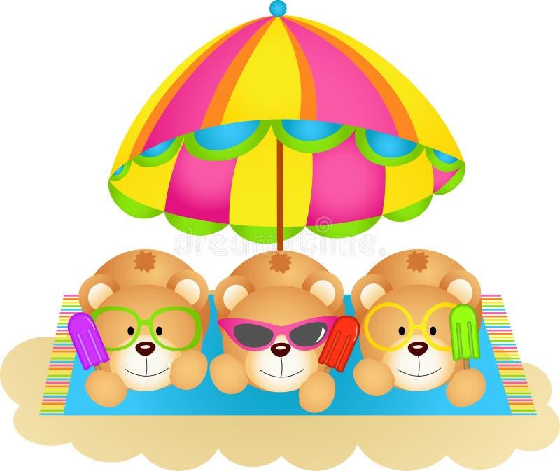 Trois ours de nounours absorbant le soleil mangeant la crème glacée  illustration stock