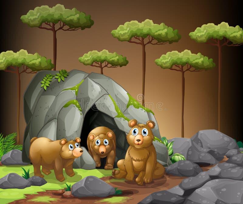 Trois ours vivant dans la caverne illustration de vecteur