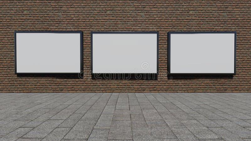 Trois panneaux-réclame en blanc photographie stock libre de droits