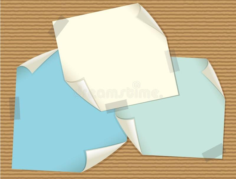 Trois papiers blancs sur la texture de carton illustration stock