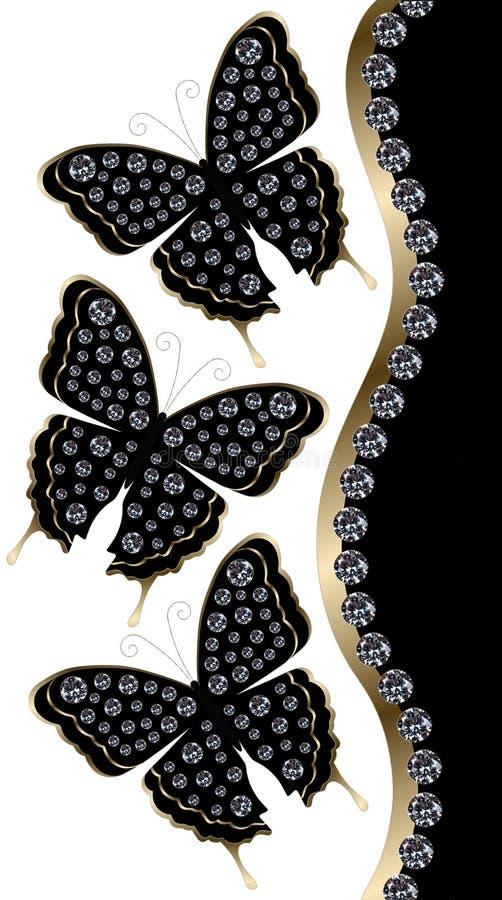 Trois papillons noirs avec la frontière horizontale de diamants illustration de vecteur