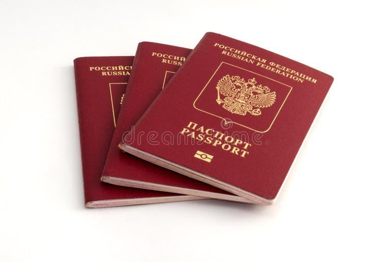Trois passeports russes photos stock