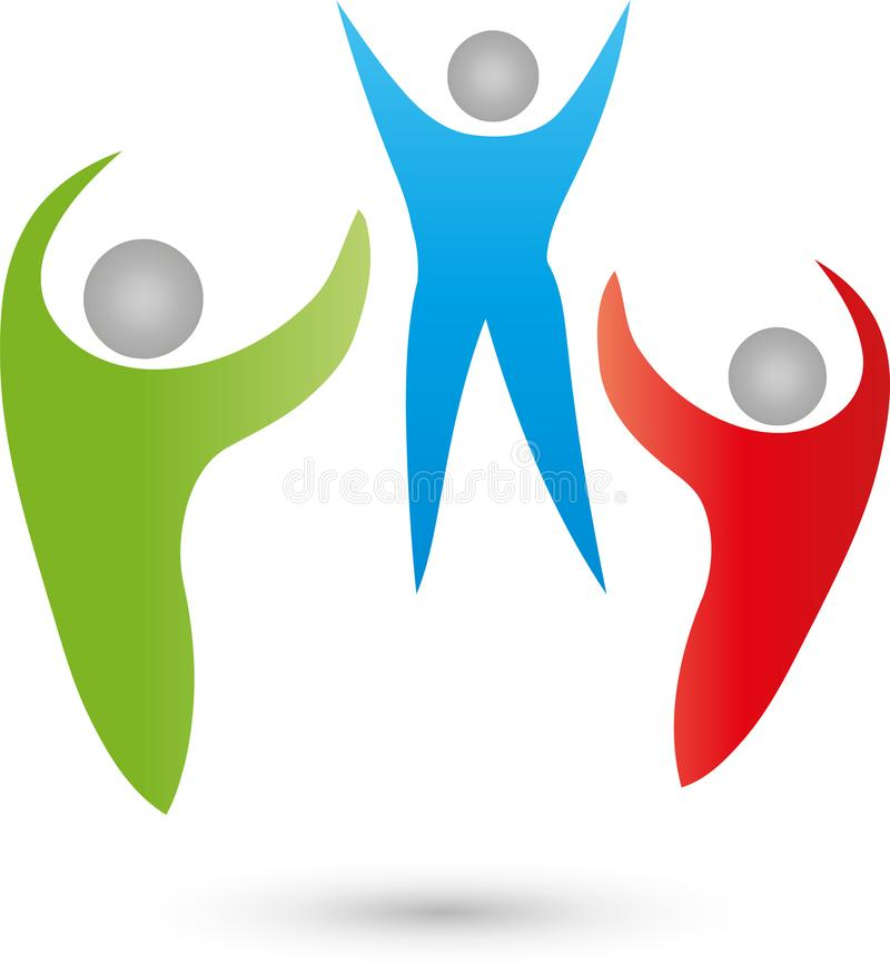 Trois personnes logo ensemble, d'équipe et d'amis, icône, bouton illustration libre de droits