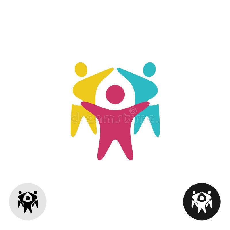 Trois personnes motivées heureuses dans un logo coloré rond illustration stock