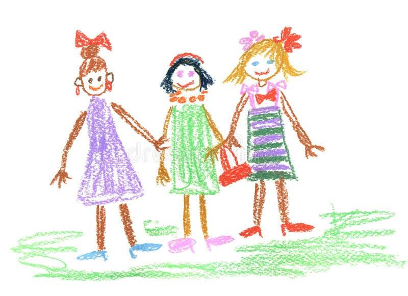 Trois petites filles illustration de vecteur
