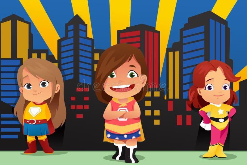 Trois petites filles portant l'illustration de super héros illustration libre de droits