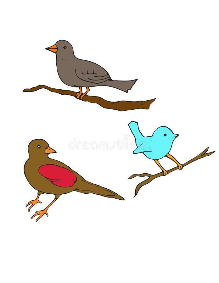 Trois petits oiseaux sur des branches illustration libre de droits