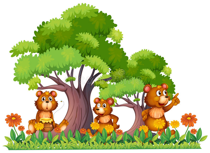Trois petits ours dans le jardin illustration de vecteur