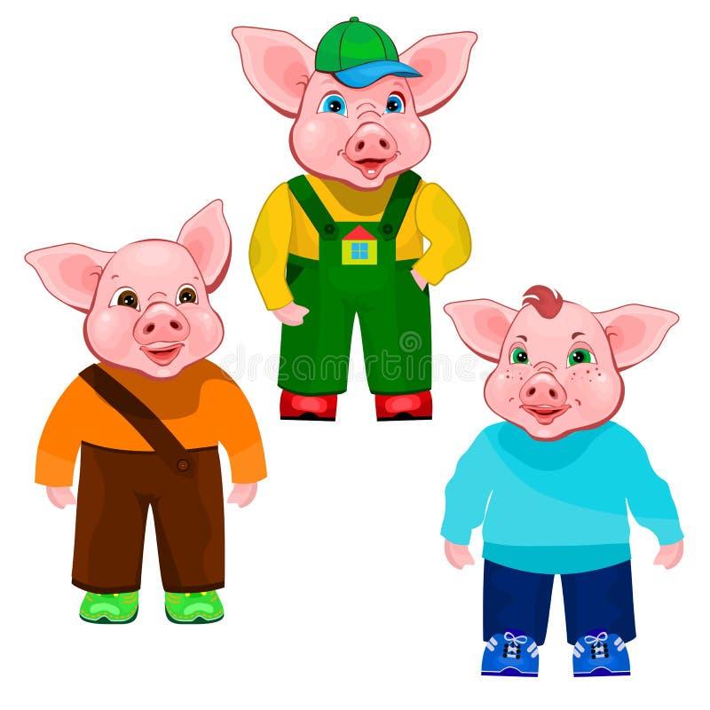 Trois petits porcs illustration libre de droits