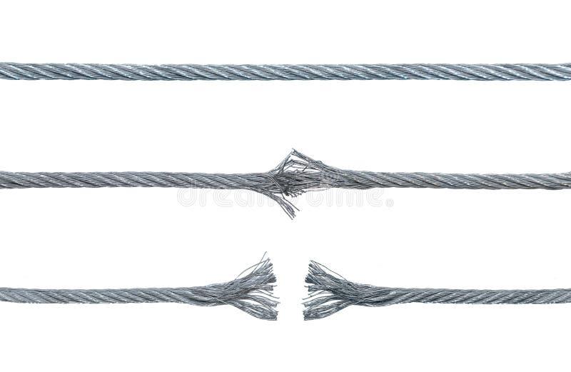 Trois phases d'un câble de rupture en métal photos stock
