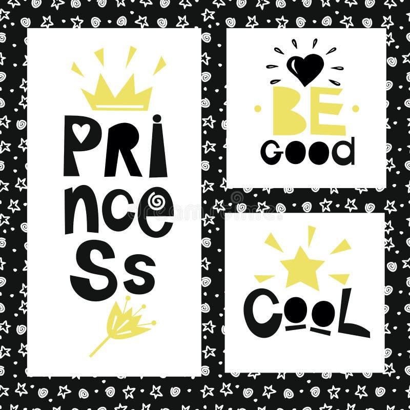 Trois phrases sur le fond des étoiles et des spirales Princesse soyez bon frais illustration libre de droits