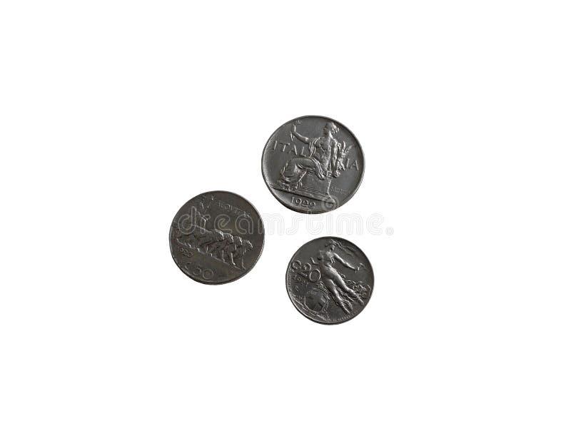 Trois pièces de monnaie italiennes des années 1920 de cru photos stock