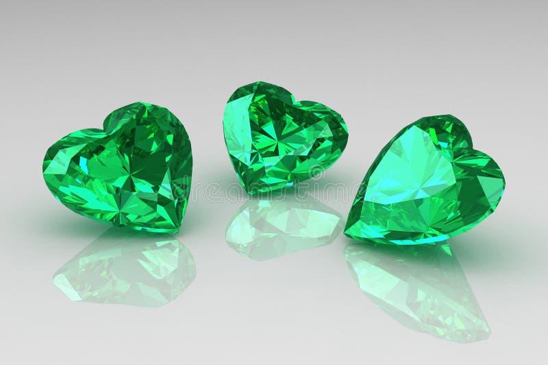 Trois pierres gemmes d'émeraude de vert de forme de coeur illustration libre de droits