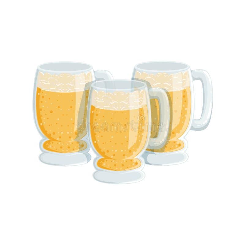 Trois pintes de Lager Beer mousseux, festival d'Oktoberfest boit la commande de menu de barre illustration de vecteur