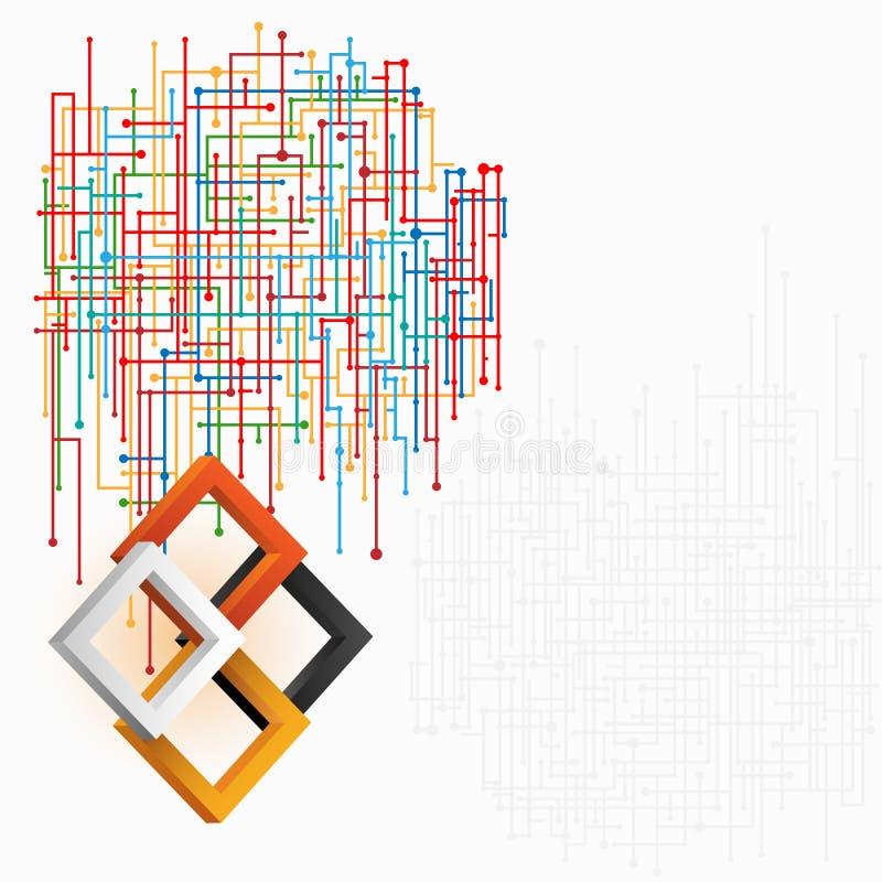 Trois places de dimensions dans la conception artistique ; Web technologique dans la disposition élaborée illustration de vecteur