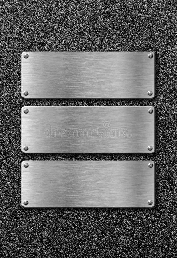 Trois plaques de métal d'acier inoxydable images libres de droits