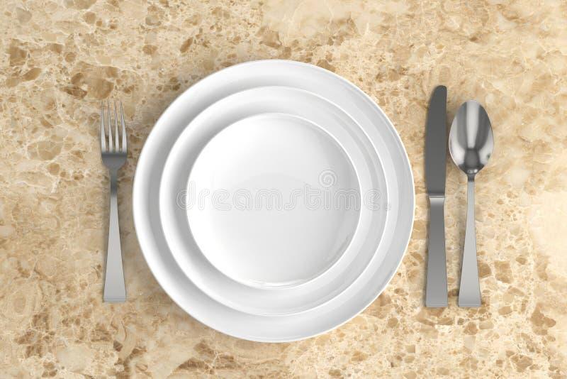 trois plats, cuillères, fourchettes et couteaux vides illustration de vecteur