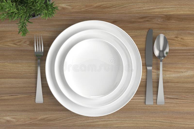 trois plats, cuillères, fourchettes et couteaux vides illustration stock